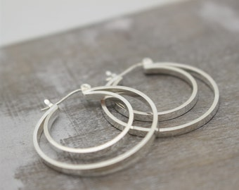 Double Hoop Earrings - Sterling Silver Click Hoops - Hoop Earrings - Simple Hoops - gift for her - Silver Earrings