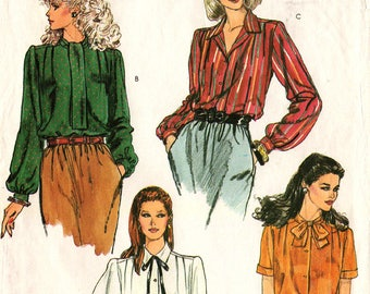 1990's MISSES BLOUSES PATTERN Very Easy Vogue #8112 Size 8 Front Button Pleated Tie Bow Collars Long Short Sleeves Vintage Sewing