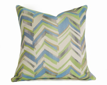 Blue Green Pillow Cover, Blue Chevron Pillow, Contemporary Pillows, Turquoise Chartreuse Gold, Blue Cushion Covers, 12x18, 18x18, 20x20, 22