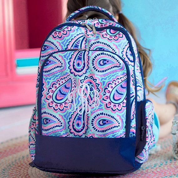 Girl's Backpack, Navy Paisley, Monogram Included