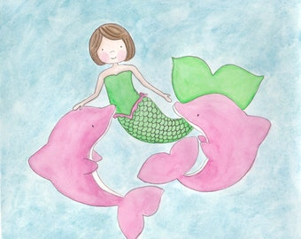 Mermaid and Dolphin Friends - 8X10 Print