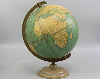 "1940s Crams 10.5"" Universal Terrestrial Globe with Metal Stand, Wedding Decor, Office Decor, Dorm Decor Glob, Made in USA , Item No.1534"