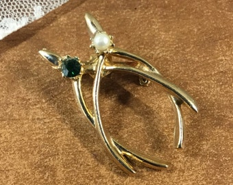 Really Lucky Traditional Double Wishbone Brooch Pin Faux Pearl Green Rhinestone Lucky Charm Talisman 1960's 1970's Gold Tone Metal