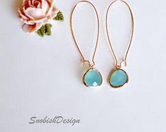 Minimalist Dainty Earrings, Minimal Simple Earrings, Everyday Long Earrings, Bridesmaid Earrings, Womens Gift, Aquamarine Earrings, Gold