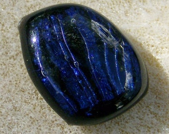 Dichroic Glass Cabochon - Fantastic Handmade Blue & Black by JewelryArtistry - DC372