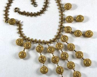 1930s Brass Filigree Bib Necklace