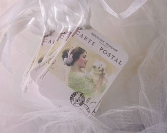 Romantic Vintage Lady and a CAT GIFT TagS Glitter 9 ~ Lovely