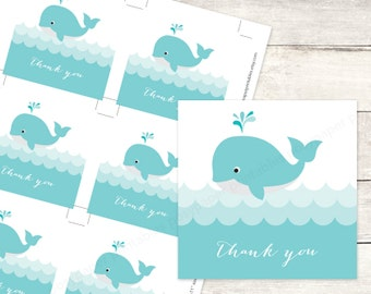 whale baby shower favor tags printable DIY baby whales waves ocean favour tags aqua blue baby boy cute thank you cards - INSTANT DOWNLOAD
