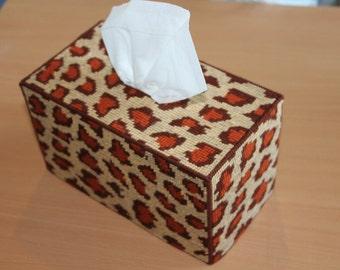 Tapestry Tissue Box - Cheetah Design - OOAK - Handmade