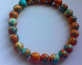 Colorful Jade Beaded Stretch Bracelet, gemstones, men's, women's, simple design, minimalist, stackable, 8mm stones
