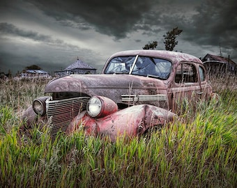 "Abandoned Car Art, Vintage Auto Print, Forlorn Auto, Rustic Auto, Ghost Town, South Dakota, Auto Landscape, ""Abandoned Rusty Automobile"""