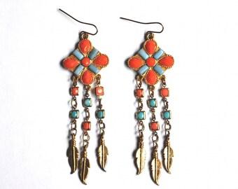 Orange & Blue Vintage Earrings - Golden Chandelier Earrings, Fringe Earrings, Dangles - Boho Jewelry