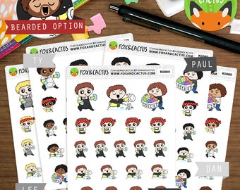 Cleaning Kawaii Guys - Guy Spring Cleaning Chores Dusting Dishes Vacuum Mop - Planner Stickers (K0080)