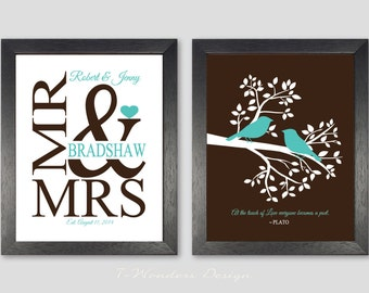 Wedding Gift Personalized Art Prints, Love Birds in a Tree, Mr & Mrs, Bridal Shower GIft // Wedding Gift // Set of (2) 5x7, 8x10 OR 11x14