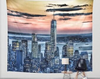 New York - Manhattan Landscape - Wall Tapestry, Photography, urban, sunset, wall art, modern, dreamy, Office,outdoor, garden, privacy screen