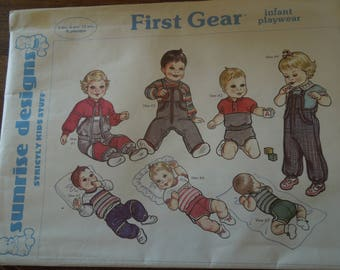 First Gear, Sunrise designs, UNCUT sewing pattern, sizes preemie to 12 months, childrens, clothing, separates