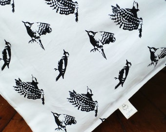 Duvet cover - Bird Bedding - Toddler Bedding - Baby Organic Cotton Bed - Screen print Eco friendly - Kids bedding - Baby Bedding Woodpecker
