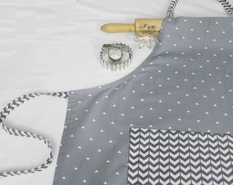 Grey Triangles and Chevron Adult Apron