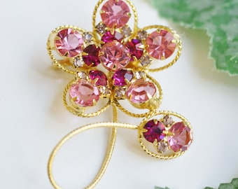 Vintage Pink Rhinestone Flower Pin - Gold Tone Flower Brooch - Pink, Magenta Pink, and Pale Pink Rhinestones Brooch -  Romantic Gift for Her