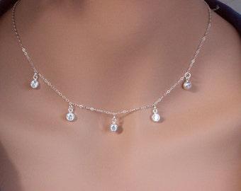 Cz dot necklace - Diamond Dangle Necklace - Dot CZ Choker Necklace - Layered Necklace - CZ disc Necklace- Choker Necklace,CZ Choker Necklace