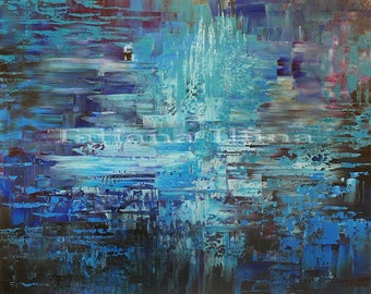 Abstract painting canvas print of original fresh creative palette knife contemporary SECRET SILENCE Tatiana Iliina Free Shipping for CND