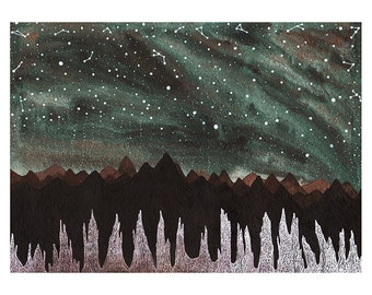 Northern Lights Art // Fine Art Print // Aurora Borealis and the Ice Forest