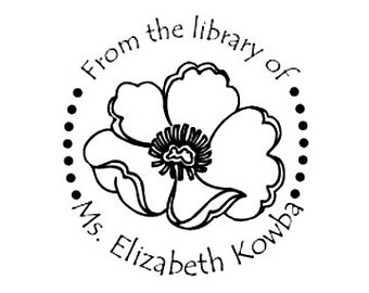 Poppy custom book plate ex libris Rubber Stamp bookplate from the library of great for teacher gift
