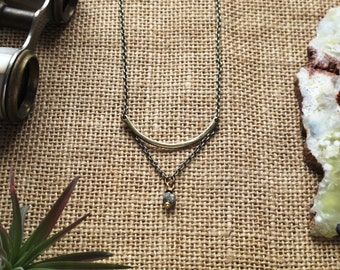 pyrite and brass short layered necklace: studly necklace