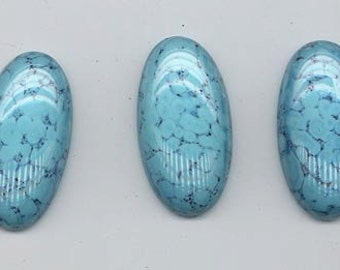 Three ohmigosh beautiful vintage lampwork glass cabochons - faux turquoise - 31.5 x 16.5