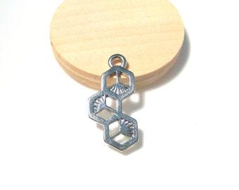 Silver Tone Honeycomb Pendants
