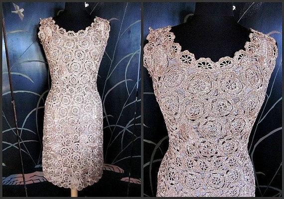 golden Dress 50s M nude CROCHET RAFFIA Wiggle blush 1950s beige fits Vintage CwzEXqF