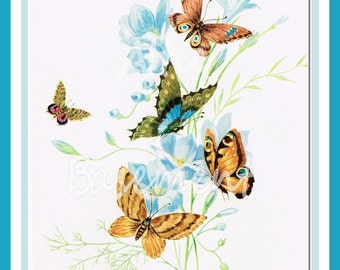 "Italian Print Butterflies Moths & Blue Flowers Vintage 10"" Lepidoptera Signed epsteam"