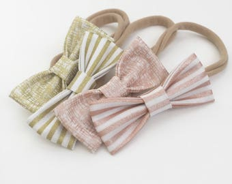 Gold and Rose Gold SMALL Girls Hair Bows - Set of Four (4) / Stripes and Crosshatch Bows /Baby Bow Headband / Baby Shower / NB-Toddler Bows