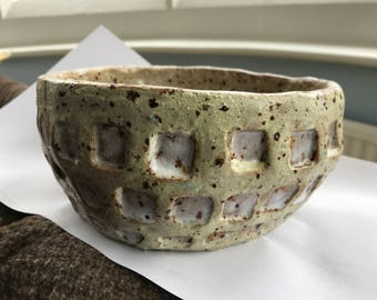 Character cherry/grape bowl speckled glazed stoneware pot with white square indentations, rough,solid