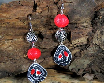 Red, Black, White and Silver Earrings, Polymer Clay and Silver Filigree Beads Earrings, Dangle Earrings, Boho Earrings, Long Earrings