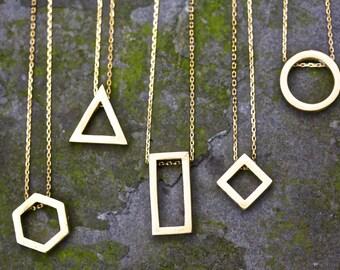 Geometric Necklace raw brass raw brass necklace necklace triangle necklace hexagon necklace circle necklace diamond necklace rectangle