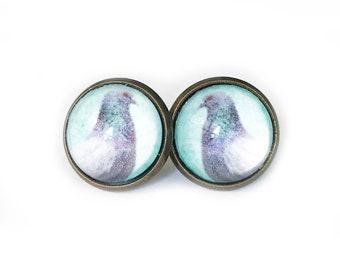 Pigeons Antique Brass Post Earrings