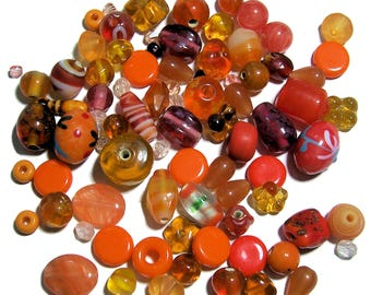 Orange Glass Bead Mix assorted beads 50grams