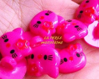 10 BUTTONS SCRAPBOOKING EMBELLISHMENT KITTY CAT 13 * 12 MM PINK BEADS