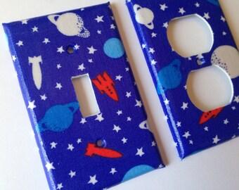 Rocket Ship Light Switch Plate/ Spaceship Bedroom / Boy Room Decor/ Nursery Decor/ Galaxy Room Decor / Outer Space Room / Rocket Nursery