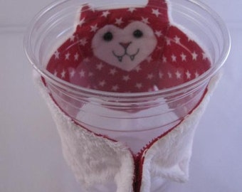 White Stars on Red 4th of July Bat Cup Sleeve, Stuffed Animal, Coffee Cozie