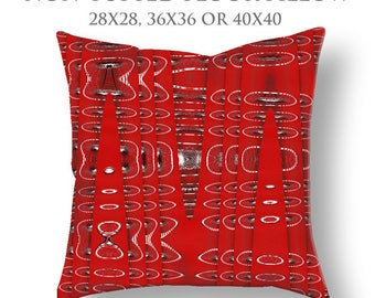Red Floor Pillow-STUFFED Pillow-Abstract Floor Pillow-Modern Decor-Round Floor Pillow-Ferris Wheel Pillow-Floor Cushion-Tufted Floor Pillow