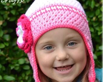 Handmade Crochet hat for girls, toddler hat, Flowers hat, Pink hat