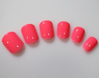 24 False Nails, Color Nails, Short Squoval Nails, High Quality Artificial Nail Tips w/Adhesive Tabs - Pink  #FREE SHIPPING
