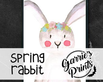 Printable | Spring Watercolor Animals | Rabbit |