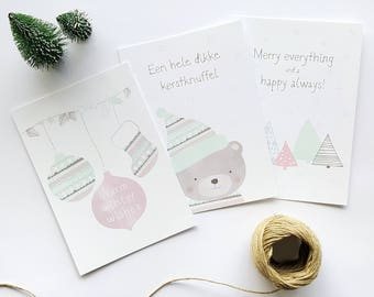 Christmas cards set (3 cards including envelope)