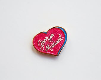 George Michael Glitter Enamel Lapel Pin Badge
