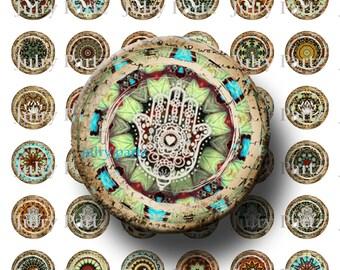 Marrakech OM, Lotus, Reiki and Hamsa Symbol Mandalas 1x1 Round,Printable Digital Images, Cards, Gift Tags, Scrabble Tiles, Yoga, Meditation