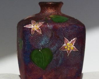 Raku small square vase