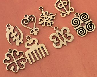 Antique Gold Adinkra MIX- 2 of Each Adinkra Charm (16 total)